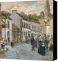 Signed Painting Canvas Prints - Street in Pont Aven Canvas Print by Childe Hassam