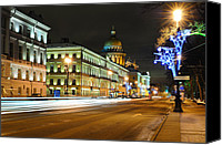 Snowy Night Canvas Prints - Street in Saint Petersburg Canvas Print by Roman Rodionov