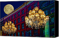 Red Moon Digital Art Canvas Prints - Street Lights Canvas Print by Chris Lord