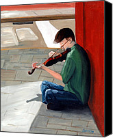 Person Painting Canvas Prints - Street Musician 3 Canvas Print by Todd Bandy