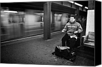 Subway Station Photo Canvas Prints - Street Musician in Subway Station in New York City Canvas Print by Ilker Goksen