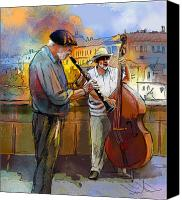Prague Digital Art Canvas Prints - Street Musicians in Prague in the Czech Republic 01 Canvas Print by Miki De Goodaboom