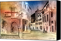 Streetscene Canvas Prints - Street Scene In Italy Canvas Print by Arline Wagner