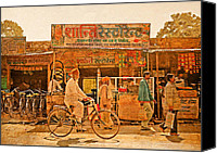Emblematic Photo Canvas Prints - Street scene India Canvas Print by Karel Noppe