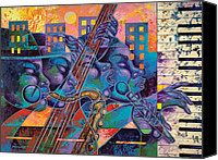 Figurative Canvas Prints - Street Songs Canvas Print by Larry Poncho Brown