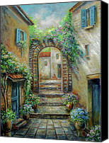 Impressionistic Art Canvas Prints - Streetscene in Old town Greece Canvas Print by Gina Femrite