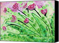 Floral Reliefs Canvas Prints - Stringy Tulips Canvas Print by Ruth Collis
