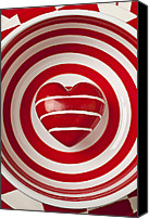 Bowls Canvas Prints - Striped heart in bowl Canvas Print by Garry Gay