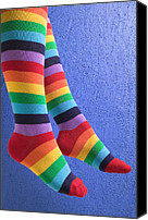 Leg Canvas Prints - Striped socks Canvas Print by Garry Gay