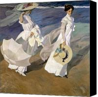 Shore Painting Canvas Prints - Strolling along the Seashore Canvas Print by Joaquin Sorolla y Bastida