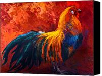 Chicken Canvas Prints - Strutting His Stuff - Rooster Canvas Print by Marion Rose
