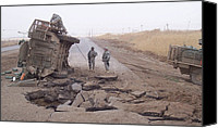 Second Gulf War Canvas Prints - Stryker Vehicle Lies On Its Side Canvas Print by Everett