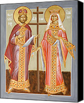 Icon Byzantine Canvas Prints - Sts Constantine and Helen Canvas Print by Julia Bridget Hayes