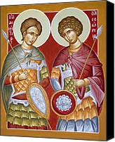 St Dimitrios Canvas Prints - Sts Dimitrios and George Canvas Print by Julia Bridget Hayes