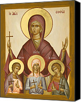 Icon Byzantine Canvas Prints - Sts Sophia Faith Hope and Love Canvas Print by Julia Bridget Hayes
