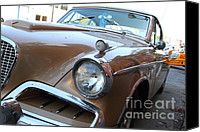 Transportation Tapestries Textiles Canvas Prints - Studebaker Golden Hawk . 7D14181 Canvas Print by Wingsdomain Art and Photography