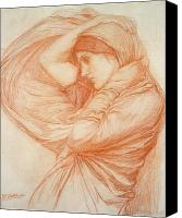William Drawings Canvas Prints - Study for Boreas Canvas Print by John William Waterhouse