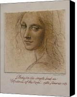 Figure Canvas Prints - Study Madona of the Rocks after Leonardo Canvas Print by Gary Kaemmer