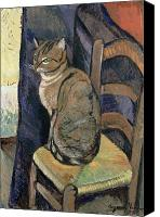 Oil Cat  Canvas Prints - Study of A Cat Canvas Print by Suzanne Valadon