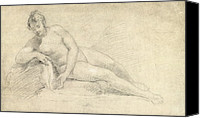 William Drawings Canvas Prints - Study of a Female Nude  Canvas Print by William Hogarth