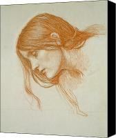William Drawings Canvas Prints - Study of a Girls Head Canvas Print by John William Waterhouse