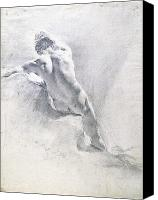 Antique Pastels Canvas Prints - Study of a male nude Canvas Print by  Giambattista Piazzetta