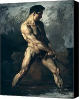 Figure Pose Canvas Prints - Study of a Male Nude Canvas Print by Theodore Gericault