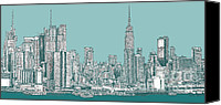 Nyc Drawings Canvas Prints - Study of New York City in Turquoise  Canvas Print by Lee-Ann Adendorff
