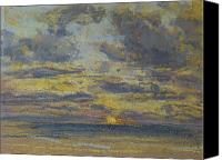 Landscapes Pastels Canvas Prints - Study of the Sky with Setting Sun Canvas Print by Eugene Louis Boudin