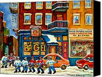 Quebec Painting Canvas Prints - St.viateur Bagel Hockey Montreal Canvas Print by Carole Spandau
