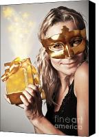 Christmas Carnival Canvas Prints - Stylish woman with golden mask and gift Canvas Print by Anna Omelchenko