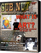 Magazine Cover Mixed Media Canvas Prints - Suburban Nut-1 Canvas Print by Janet Kearns