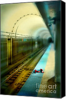Subway Station Photo Canvas Prints - Subway Station with Red Shoes Canvas Print by Jill Battaglia