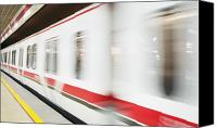Subway Station Photo Canvas Prints - Subway Train Races By Canvas Print by Andersen Ross