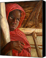 Figurative Art Canvas Prints - Sudanese Girl Canvas Print by Enzie Shahmiri