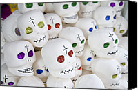 Miniatures Canvas Prints - Sugar Skulls For Sale At The Day Canvas Print by Krista Rossow