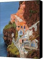 House Painting Canvas Prints - sul mare Greco Canvas Print by Guido Borelli