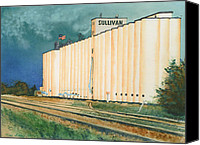 American Flag Pastels Canvas Prints - Sullivan Elevator Ulysses KS Canvas Print by Tracy L Teeter