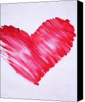 Red Heart Canvas Prints - Sumi Style Heart Canvas Print by Samantha Lockwood