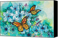 Vinca Flowers Canvas Prints - Summer Butterflies Canvas Print by Deborah Younglao
