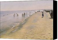 1884 Canvas Prints - Summer Day at the South Beach of Skagen Canvas Print by Peder Severin Kroyer