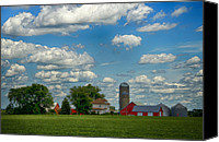 Barn Digital Art Canvas Prints - Summer Iowa Farm Canvas Print by Bill Tiepelman
