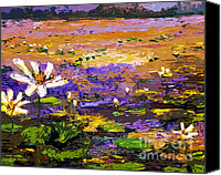 Impressionist Mixed Media Canvas Prints - Summer Lotus Pond Impressionist Mixed Media Art Canvas Print by Ginette Callaway
