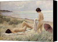 Woman  Canvas Prints - Summer on the Beach Canvas Print by Paul Fischer