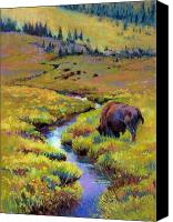 Bison Pastels Canvas Prints - Summer Pastures Canvas Print by Christine  Camilleri