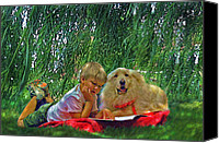 Library Canvas Prints - Summer Reading Canvas Print by Jane Schnetlage