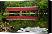 Country Scenes Photo Canvas Prints - Summer Reflections at West Cornwall Covered Bridge Canvas Print by Thomas Schoeller