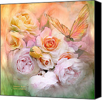 The Art Of Carol Cavalaris Mixed Media Canvas Prints - Summer Roses Canvas Print by Carol Cavalaris