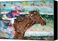 Horse Drawings Canvas Prints - Summer Squall Horse Racing Canvas Print by Mindy Newman