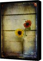 Old Digital Art Canvas Prints - Summer Sunflowers Canvas Print by Sari Sauls